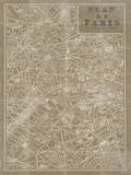 Blueprint Map Paris Taupe Prints by Sue Schlabach