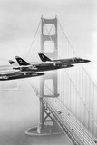 US Navy Blue Angels Over Golden Gate Bridge Archival Photo Poster Photo