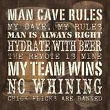 Man Cave Rules - Sq Posters af Debbie DeWitt