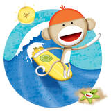 Surfing Monkey Print by Kevin Zimmer
