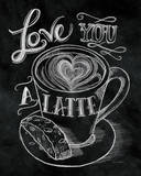 Love You a Latte No Border Poster von Mary Urban
