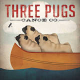 Three Pugs in a Canoe Prints by Ryan Fowler