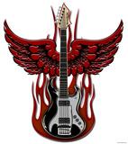 Vulture Kulture Winged Guitar Wall Jammer Wall Decal Wall Decal
