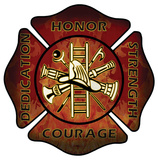 Firefighters Maltese Cross Wood Sign Wood Sign