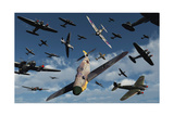 British Supermarine Spitfires Attacking German Heinkel Bombers and Escorts Posters