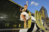 Sexy 1940's Style Pin-Up Girl Standing Inside of a C-47 Skytrain Aircraft Stampa fotografica