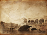 Vintage Photo of Grand Canal and Rialto Bridge in Venice, Italy Photographic Print