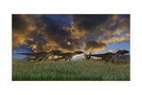 Three Utahraptors Running across Prehistoric Grasslands Prints