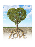 Cross Section of Soil Showing a Heart-Shaped Tree with its Roots as Text Lov Posters
