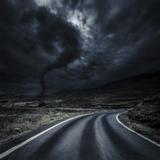Tornado Near a Winding Road in the Mountains, Crete, Greece Photographic Print