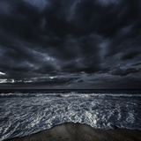 Rough Seaside Against Stormy Clouds, Hersonissos, Crete, Greece Photographic Print