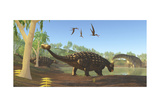 Ankylosaurus Dinosaurs Drink from a Swamp Along with an Argentinosaurus Print