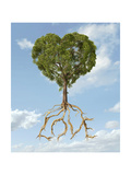 Tree with Foliage in the Shape of a Heart with Roots as Text Love Print