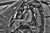 High Dynamic Range Image of a Woman Pilot Sitting Inside of a Uh-60 Black Hawk Photographic Print