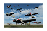 German Heinkel Bombers Taking Off from French Airfields Prints