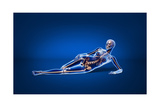 X-Ray View of a Woman Laying Down with Skeletal Bones Superimposed Print