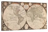Jean Baptiste Nolin 'A New Map of the World' Stretched Canvas Print by Jean Baptiste