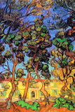 Vincent Van Gogh Trees in the Garden of Saint-Paul Hospital Art