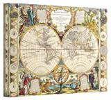 Samuel Dunn 'Mappe-Monde Carte Universelle de la Terre Dressee' Stretched Canvas Print by Samuel Dunn