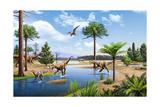 Two Herrerasaurus Dinosaurs Chasing a Silesaurus Down a Stream Plakater