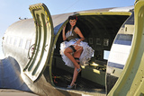 Sexy 1940's Style Pin-Up Girl Standing Inside of a C-47 Skytrain Aircraft Fotoprint