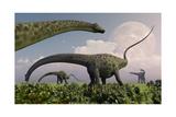 A Herd of Diplodocus Sauropod Dinosaurs Grazing Art