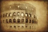 Vintage Photo of Coliseum in Rome, Italy Papier Photo