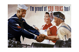 World War II Poster of a Sailor Shaking Hands with Factory Workers Prints