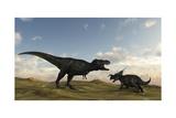 An Einiosaurus Is Confronted by a Tyrannosaurus Rex Prints