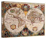 Henricus Hondius 'A New and Accurate Map of the World' Gallery Wrapped Canvas by Henricus Hondius