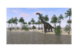 Large Brachiosaurus Standing at the Water's Edge Print