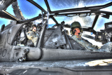 HDR Image of Pilots Equipped with a Monocle in the Cockpit of an Ah-64 Apache Photographic Print