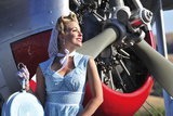 Close-Up of a 1940's Style Pin-Up Girl in Front of a Vintage F3F Biplane Photographic Print