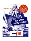 World War II Propaganda Poster Featuring a Battleship Out a Sea Print