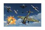 German Ju 87 Stuka Dive Bombers Attacked by British Supermarine Spitfires Art