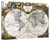George Louis Le Rouge 'Double Hemisphere Map' Gallery Wrapped Canvas