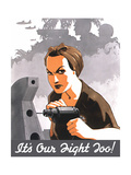 World War II Propaganda Poster of Rosie the Riveter Operating a Drill Posters