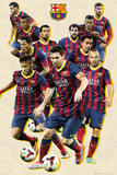 Barcelona Players Vintage 13/14 Posters