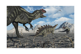 Allosaurus Dinosaurs Moving in to Kill a Stegosaurus Trapped in a Mud Pit Posters