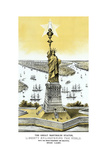 Vintage Color Architecture Print Featuring the Statue of Liberty Prints