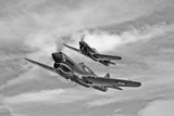 Two Curtiss P-40 Warhawks in Flight Near Nampa, Idaho Photographic Print