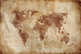 Aged World Map on Dirty Paper Prints