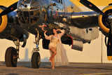 Sexy 1940's Pin-Up Girl in Lingerie Posing with a B-25 Bomber - Fotografik Baskı