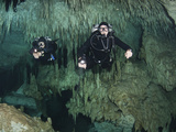 Cave Divers in Dreamgate Cave System, Yucatan Peninsula, Mexico Photographic Print