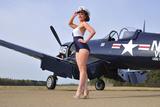 1940's Style Navy Pin-Up Girl Posing with a Vintage Corsair Aircraft - Fotografik Baskı