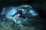 Technical Divers Enter the Cavern System in Mexico Photographic Print