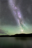 Aurora Borealis and Milky Way Above Fish Lake, Yukon, Canada Photographic Print
