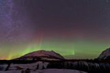 Aurora Borealis and Milky Way over Carcross, Yukon, Canada Photographic Print