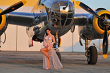 Sexy 1940's Pin-Up Girl in Lingerie Posing with a B-25 Bomber Photographic Print