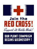 Vintage World War II Propaganda Poster Featuring a Red Cross Poster